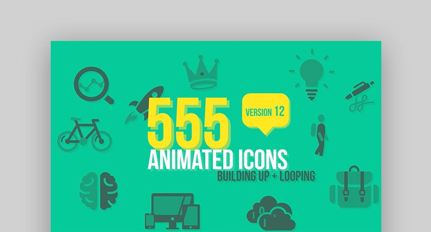 Animated icons After Effects video templates
