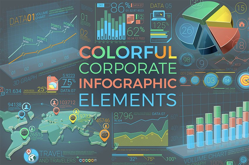infographic rainbow PowerPoint background templates