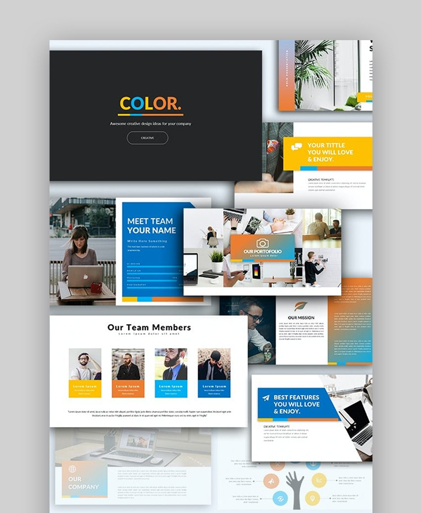 PowerPoint template color palette