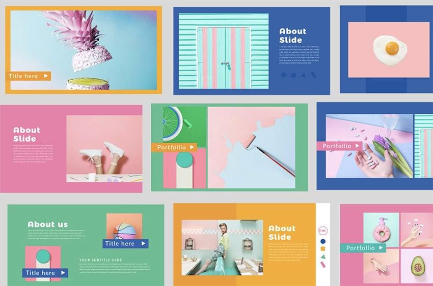 Retro PowerPoint color schemes templates