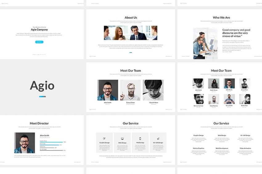 Agio template for PowerPoint lesson