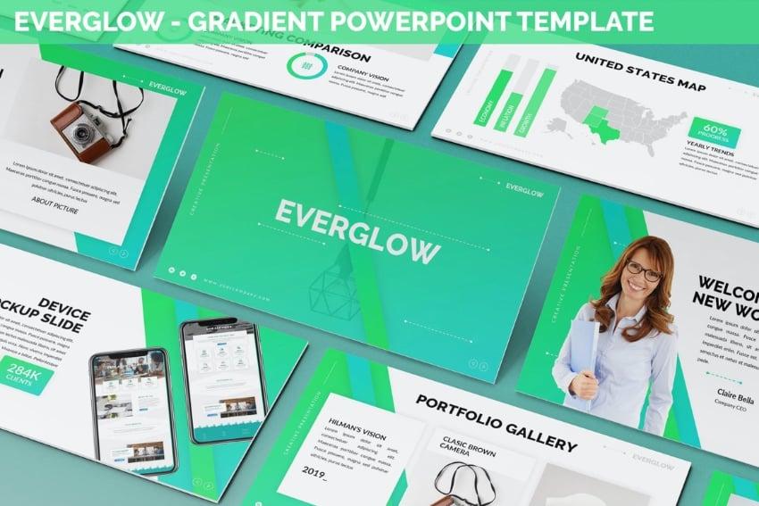 Everglow neon PowerPoint template