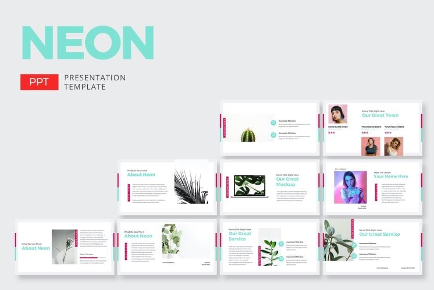Slides neon lights PowerPoint templates