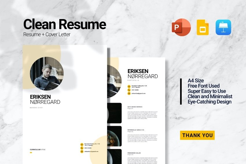 minimalist CV PowerPoint