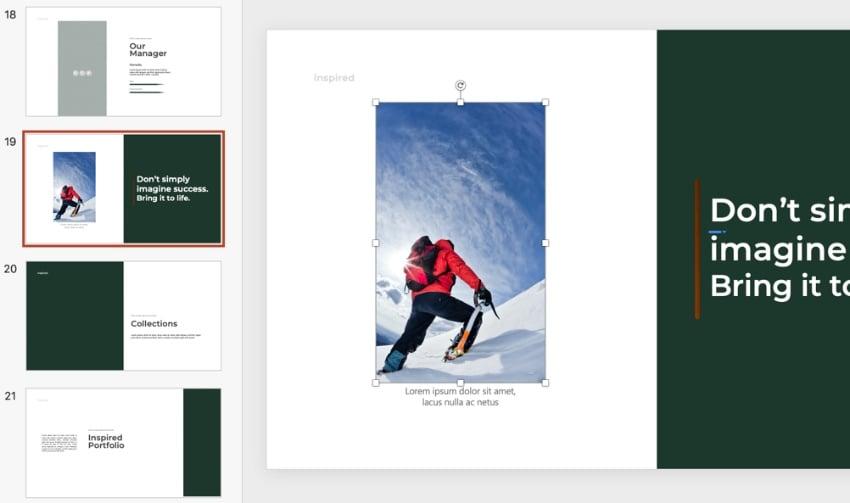 Photo inspiring PowerPoint templates