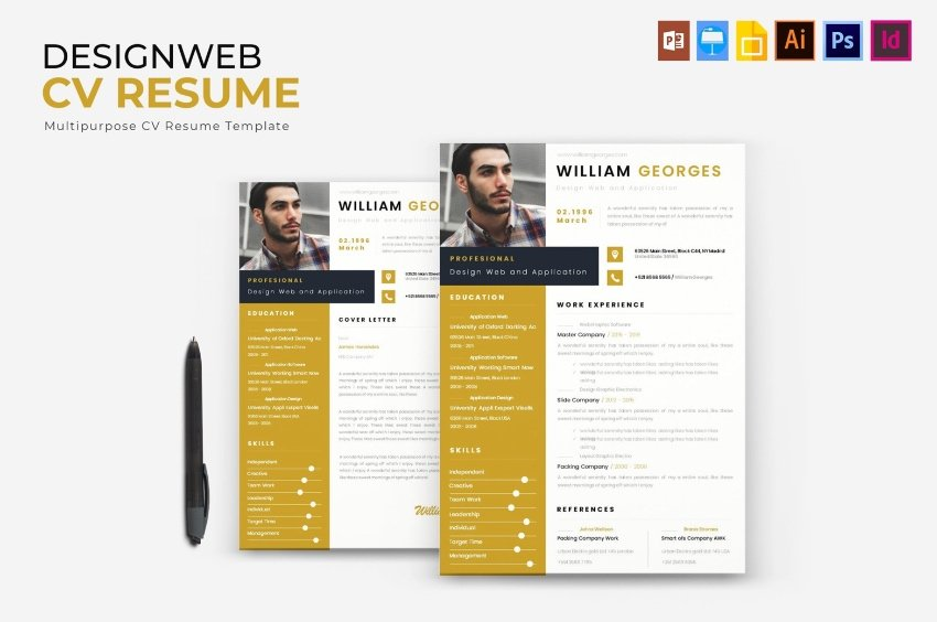 Web developer modern CV template