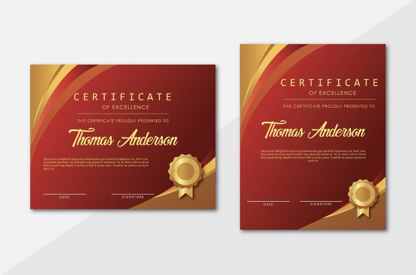 Custom font editable certificate template Word