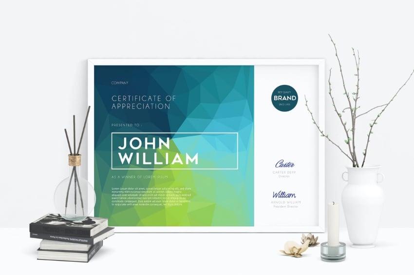 Editable certificate template Word
