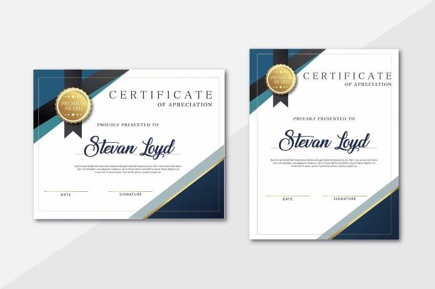 Names editable certificate template Word