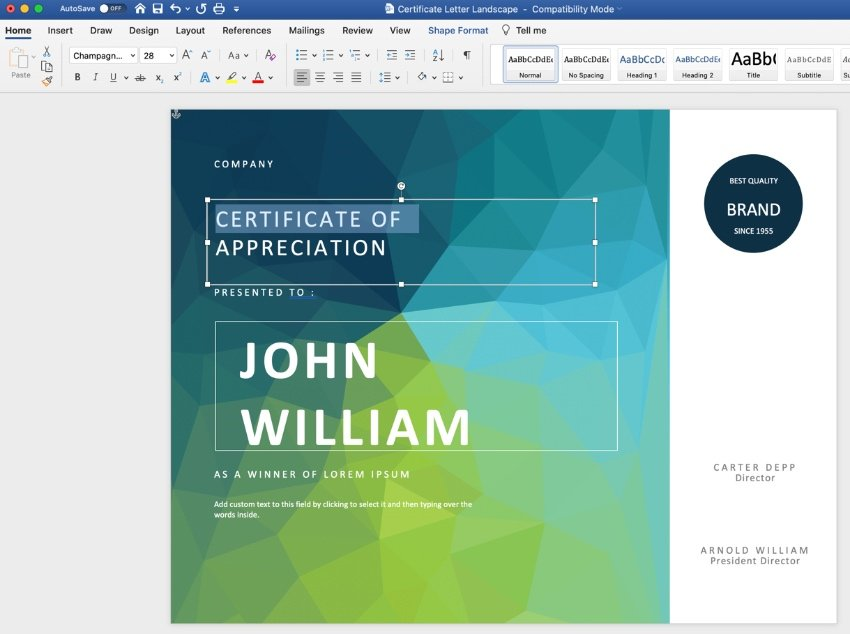 Text editable certificate template Word