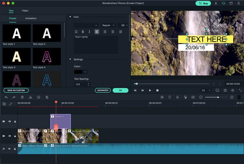 Customize text Filmora video editing software