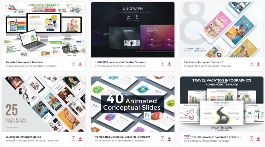 Elemente animierte PowerPoint-Vorlagen
