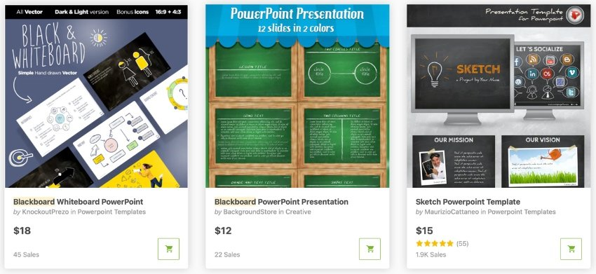 GraphicRiver PowerPoint chalkboard theme