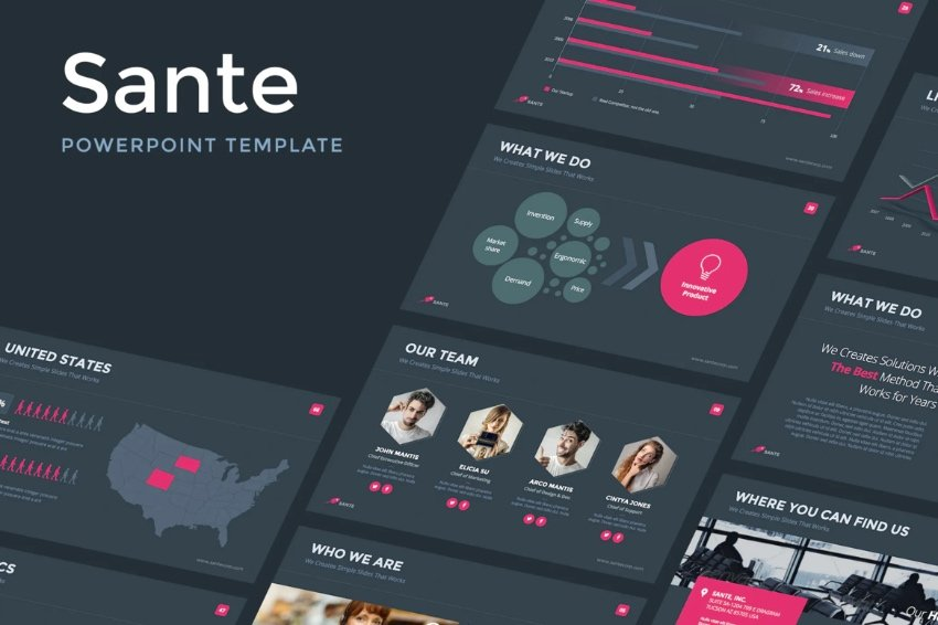 Infographic chalkboard PowerPoint template