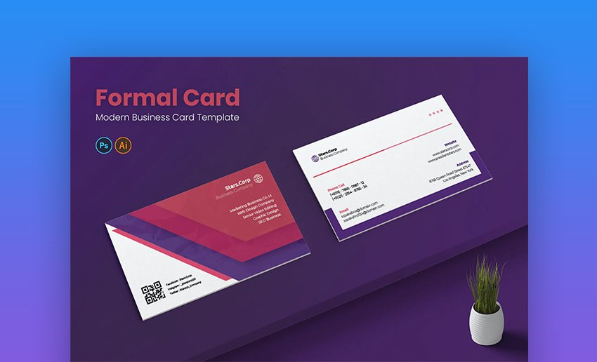 Formal card business card