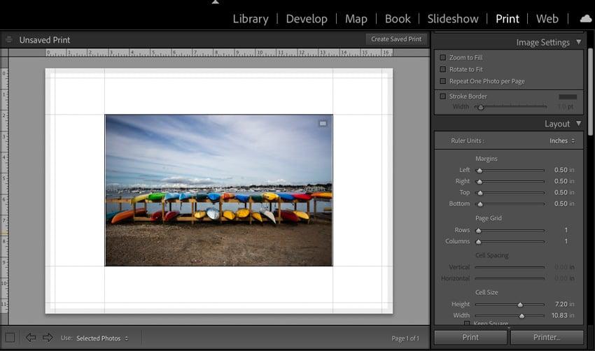 Page margins Lightroom print