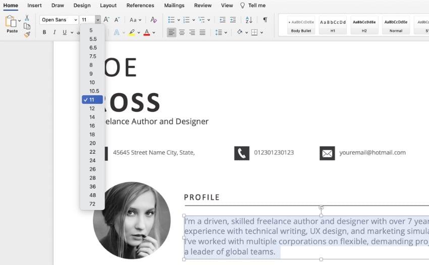 Font CV template Doc