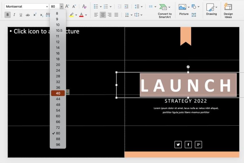 Font dark PowerPoint templates