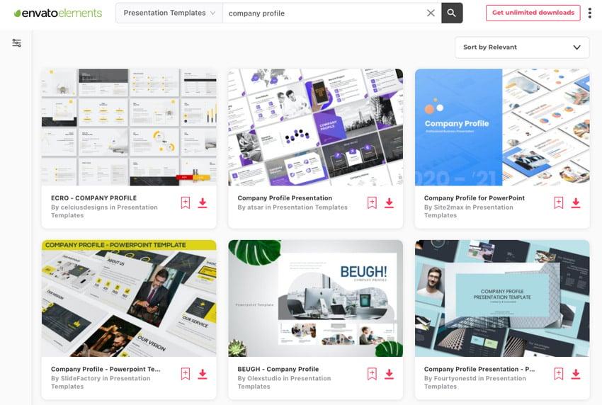Envato Elements company profile design PPT