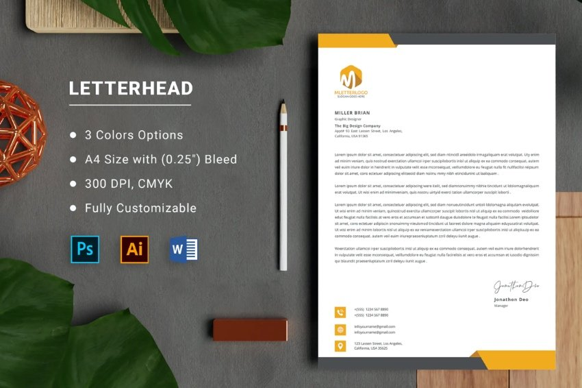 Letterhead contract template Word