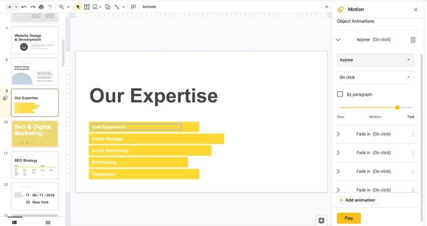 Animation how to make Google Slides interactive