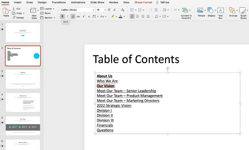 How to create table of contents in PowerPoint