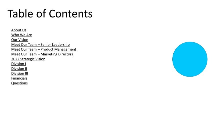 How to insert table of contents in PowerPoint