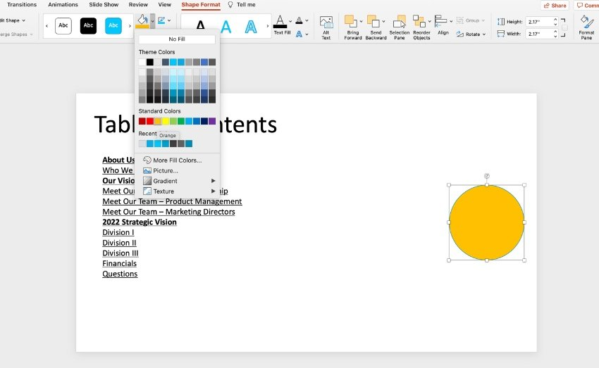Insert table of contents PowerPoint