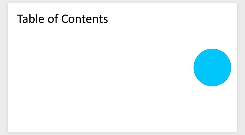 Table of contents in PowerPoint