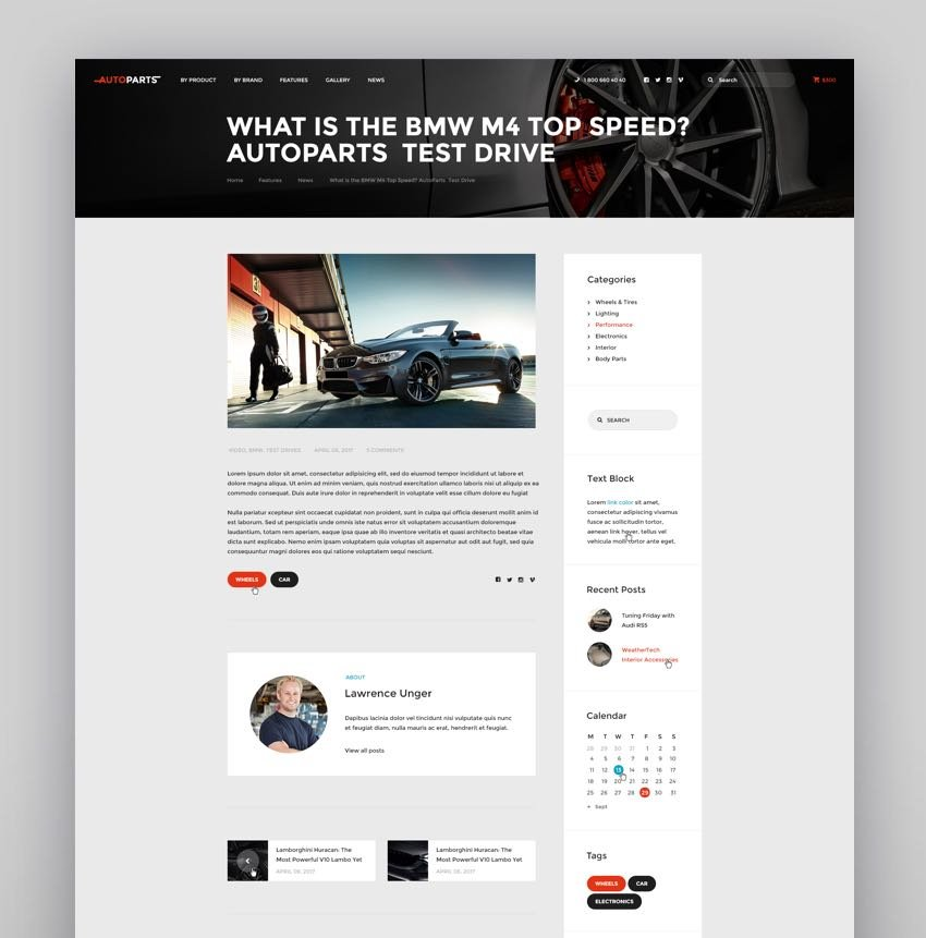 Car Parts Store Auto Services WordPress Theme
