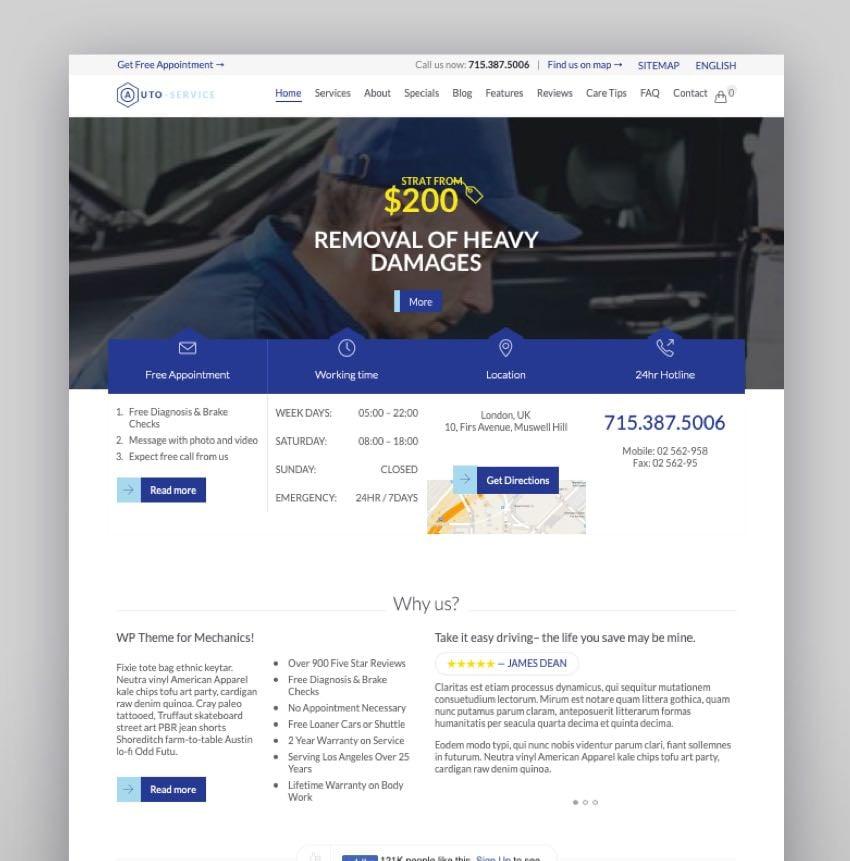 Auto Repair The Theme Car WordPress