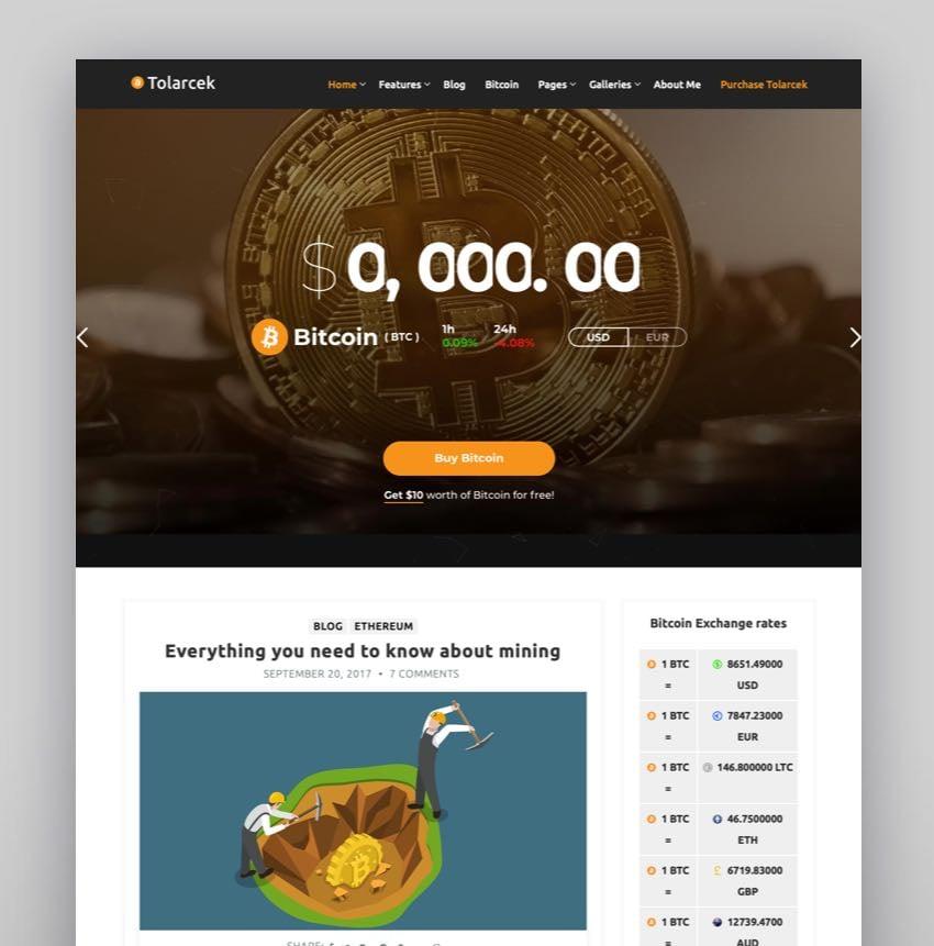 Tolarcek - A Bitcoin  CryptoCurrency WordPress Blog Theme
