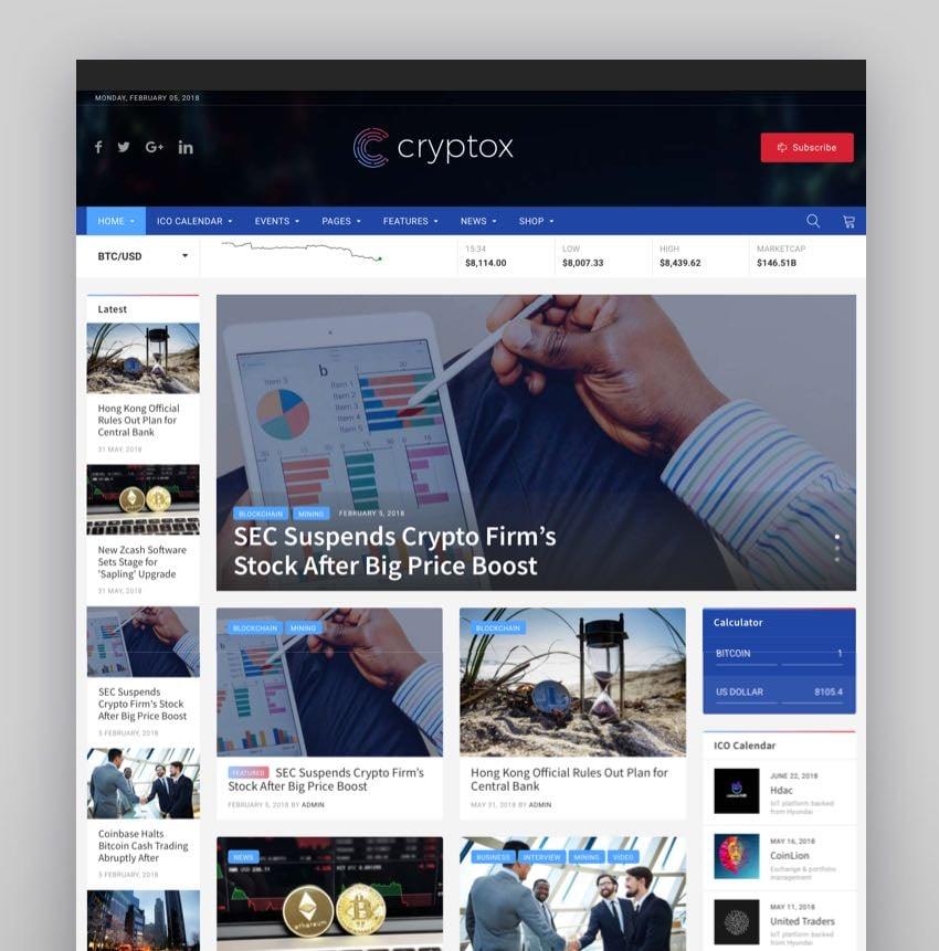 Cryptox - Tema de WordPress para web de Bitcoin y criptomonedas