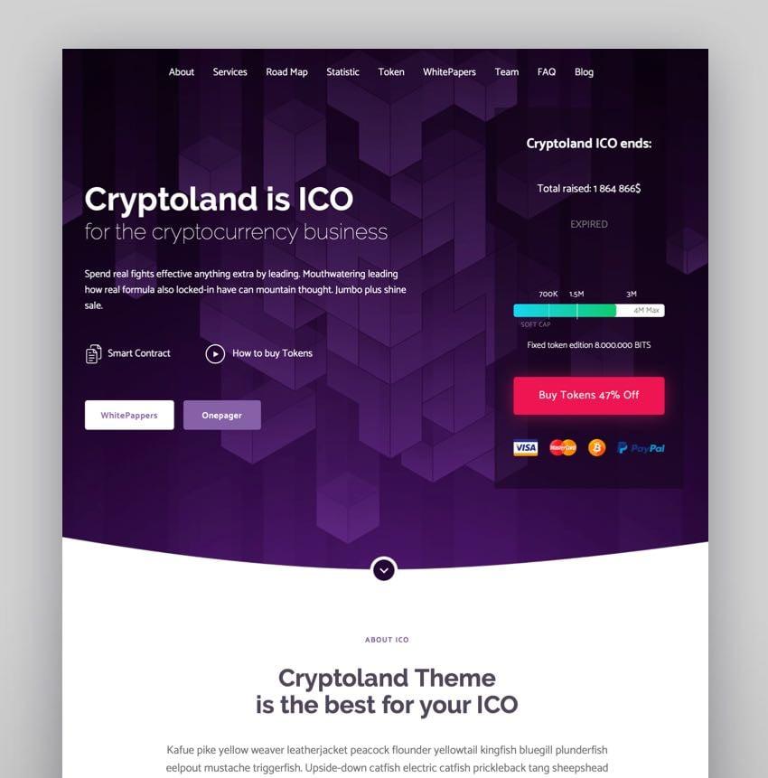 Cryptoland - Tema de WordPress para páginas de aterrizaje de ICO