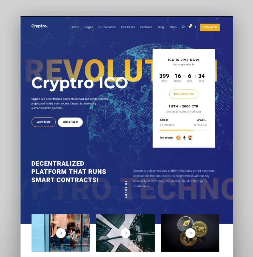Cryptro - Plantilla web para Bitcoin, criptomonedas, blockchain, y tecnologías financieras