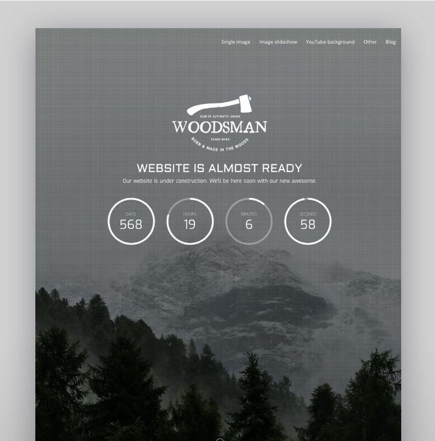 Woodsman - Exclusive Coming Soon WordPress Theme