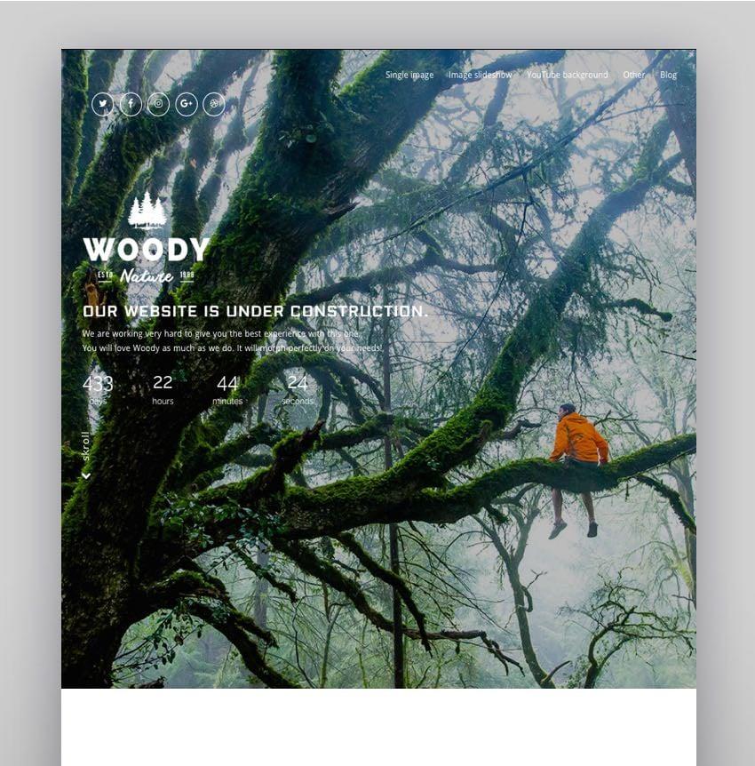Woody - Exclusive Coming Soon WordPress Theme