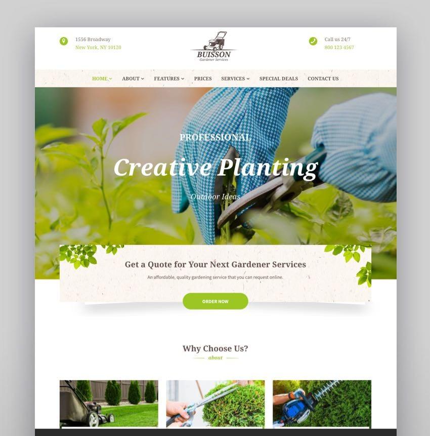 Buisson - Gardening  Landscaping Services WordPress Theme
