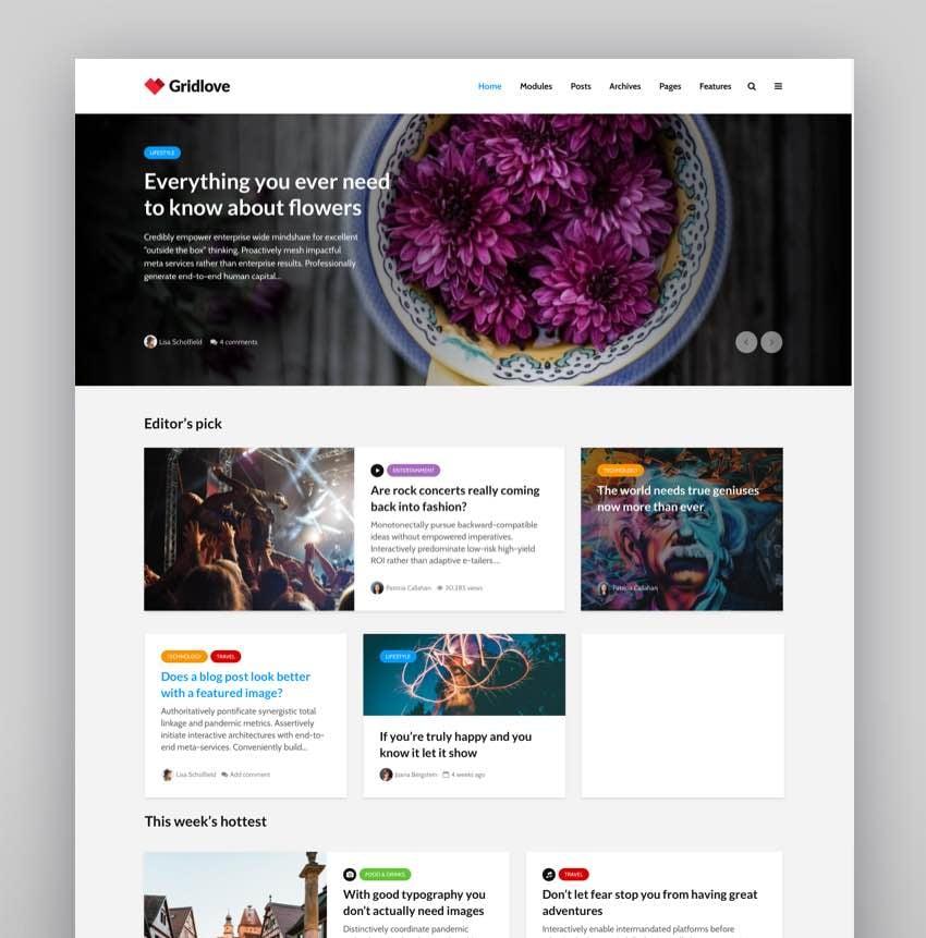 Gridlove - Creative Grid Style News Magazine WordPress Theme