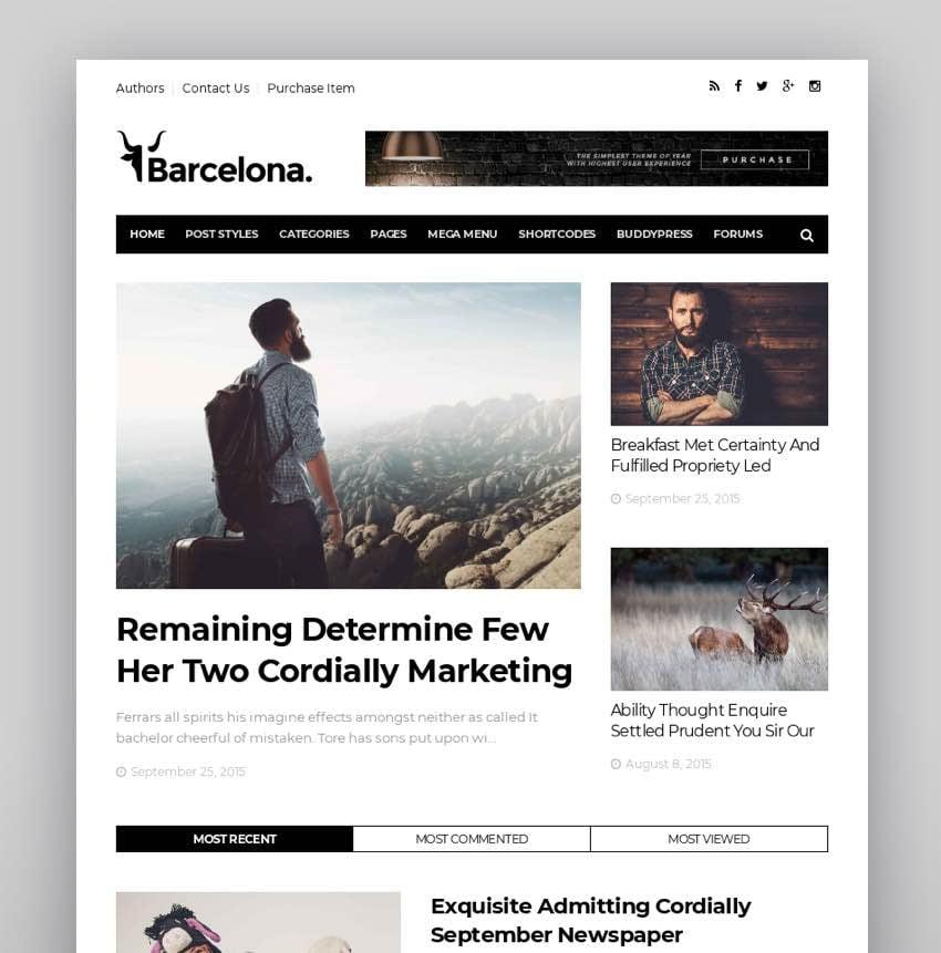 Barcelona - Clean News Magazine WordPress Theme