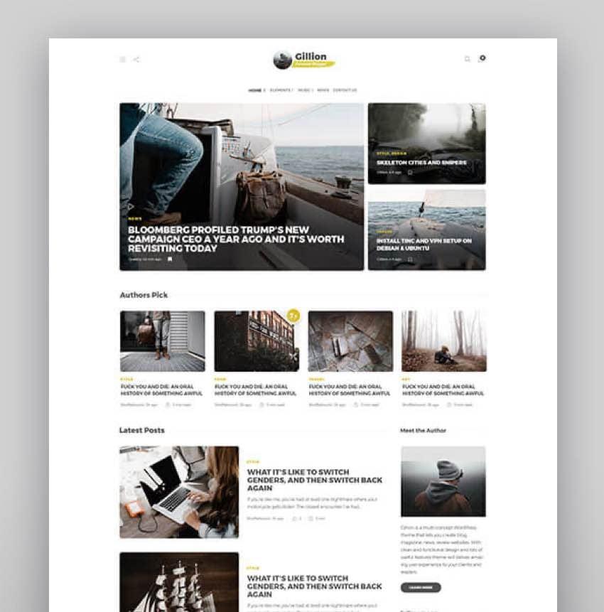 Gillion Multi-Concept BlogMagazine Shop WordPress ThemeGillion Multi-Concept BlogMagazine Shop WordPress Theme