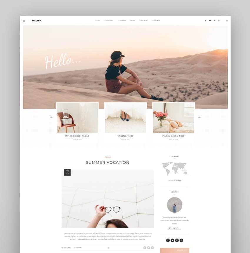 Malina - Personal WordPress Blog Theme