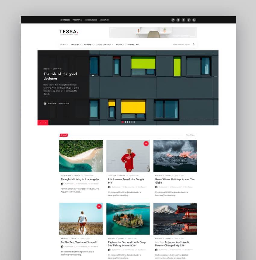 Tessa - Modern Theme for Blogs  Magazines