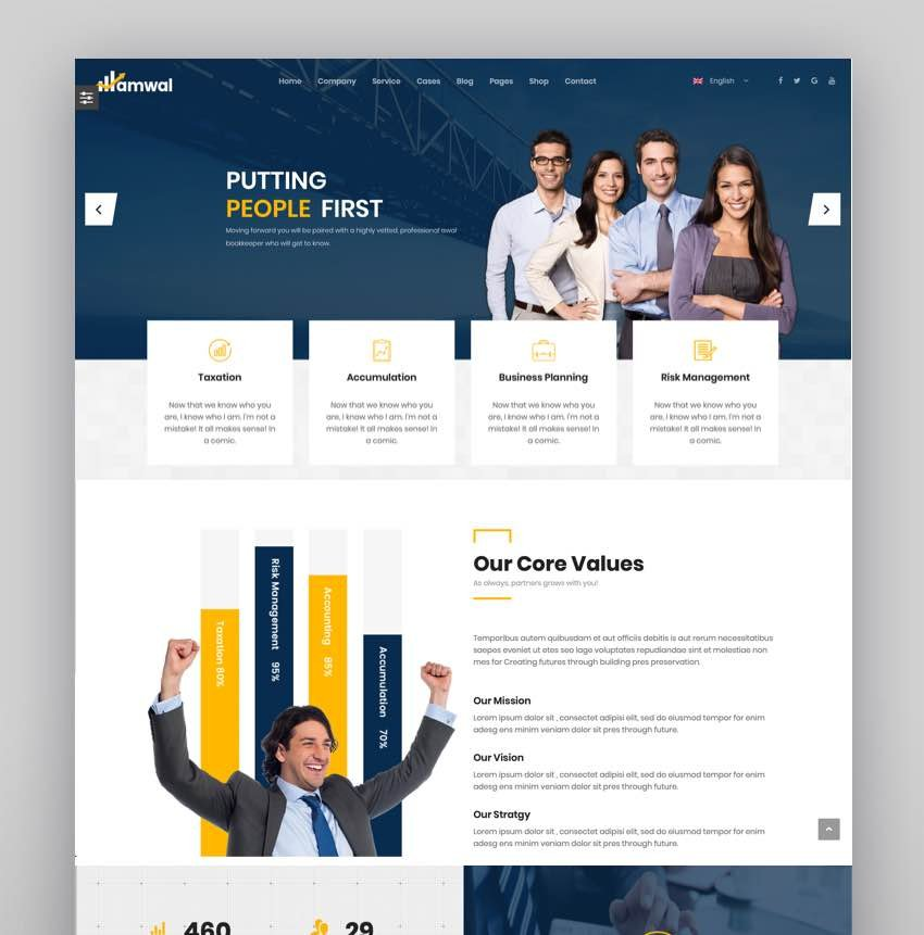 Amwal  Consulting Business Finance Accounting WordPress Theme