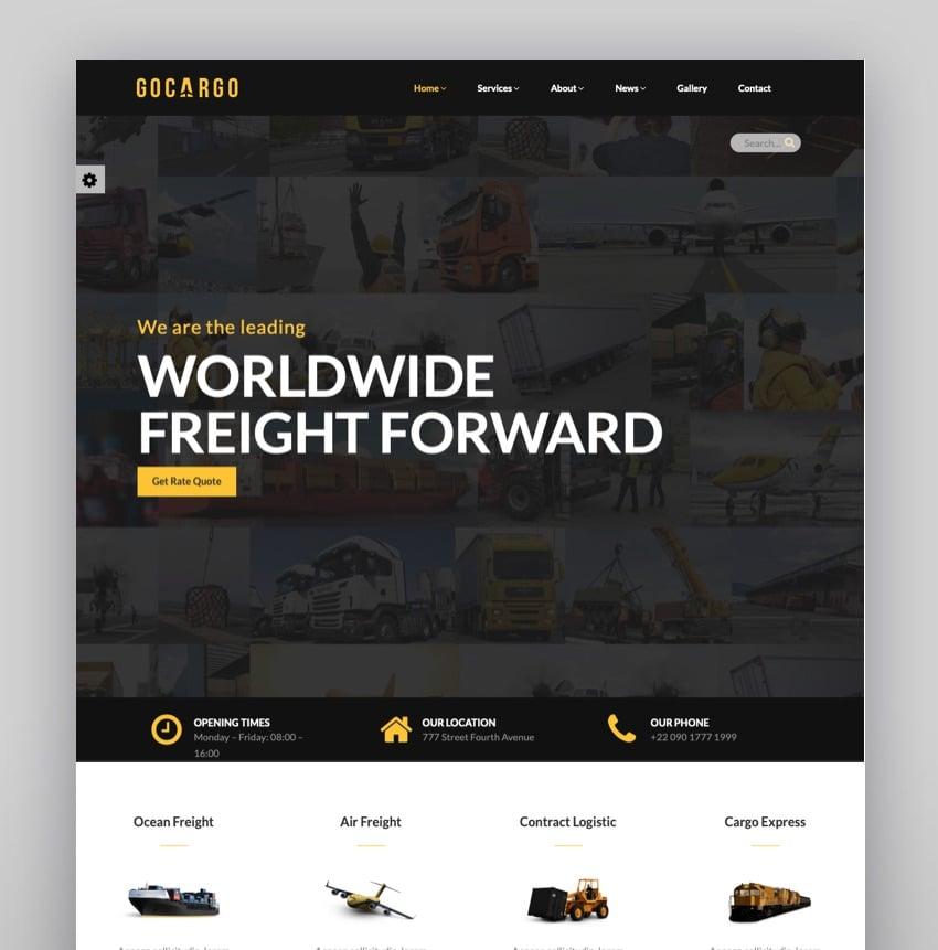 GoCargo - Freight Logistics Transportation WordPress Theme