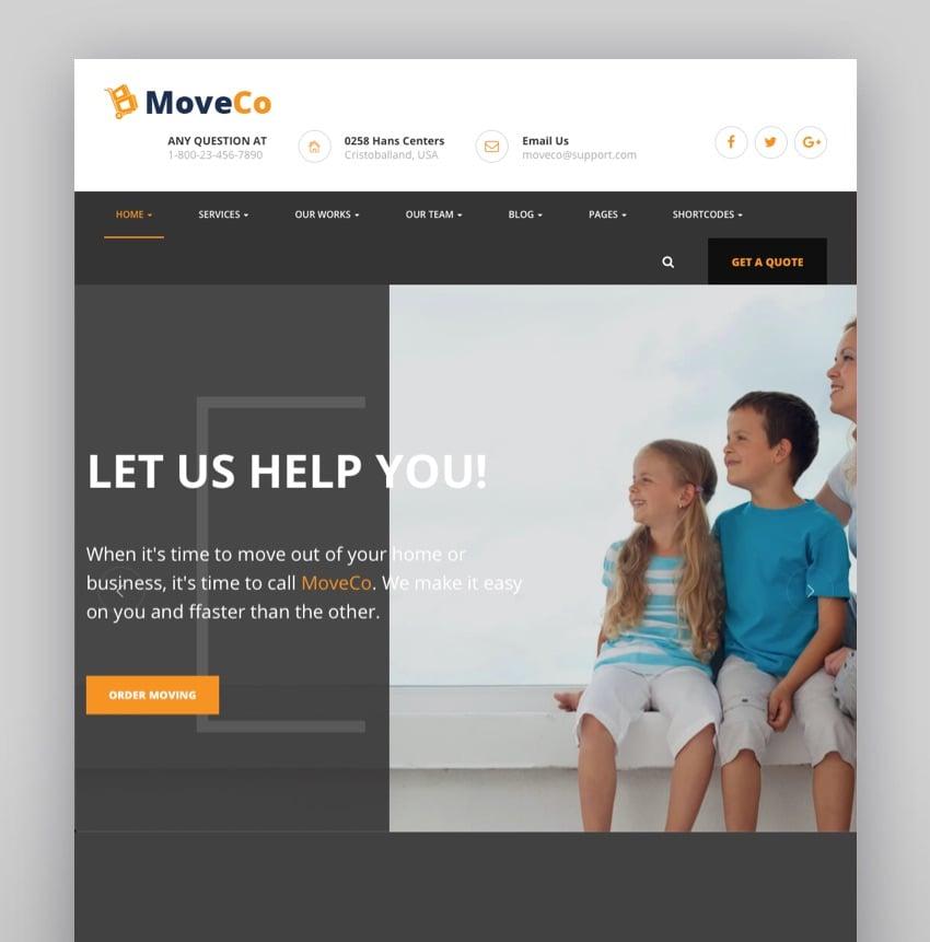 MoveCo - Logistics Moving Company WordPress Theme