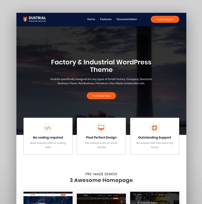 Dustrial - Factory  Industrial WordPress Theme