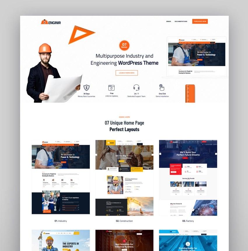 Enginir - Industrial  Engineering Multipurpose WordPress Theme