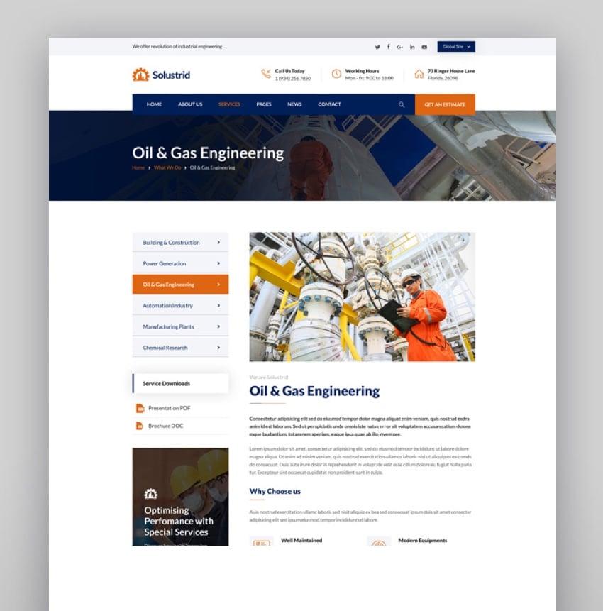 Solustrid - Factory  Industrial Business WordPress Theme