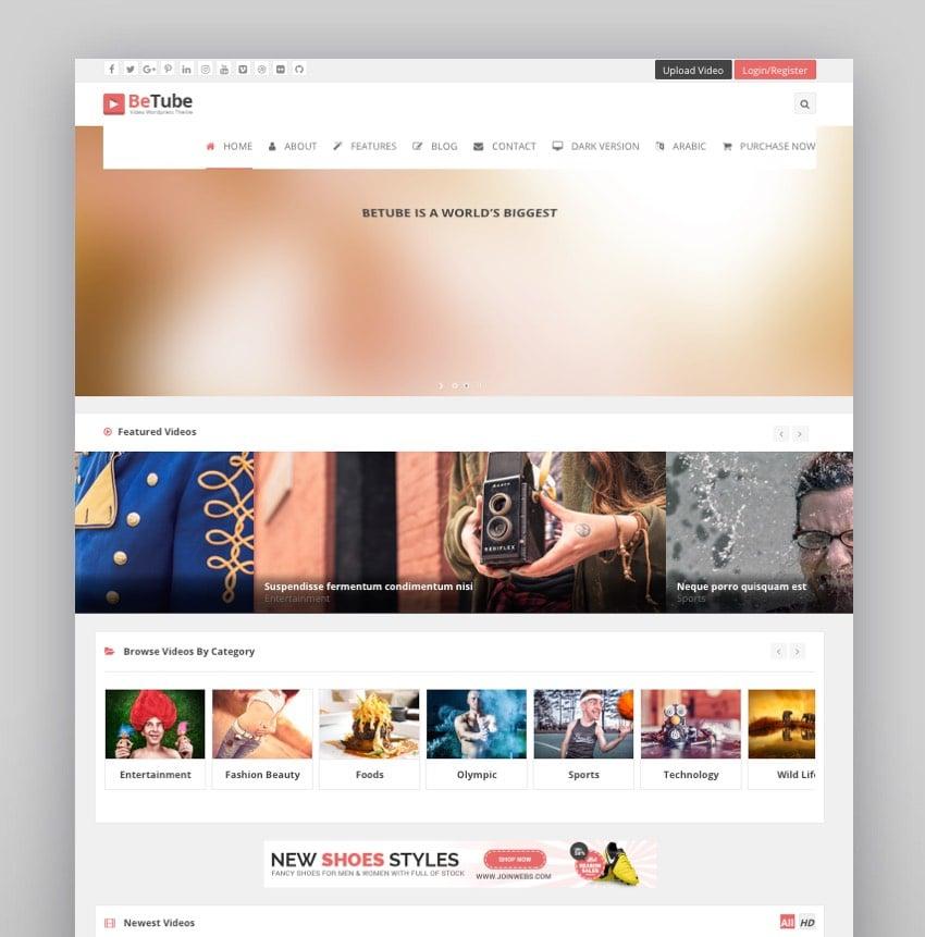 Betube WordPress Video Theme